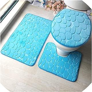 3Pieces Bathroom Washable Bath Rug /& Pedestal Mat /& Toilet Lid Cover Set #2