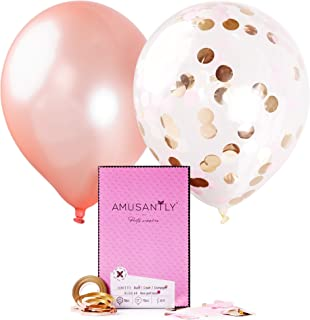 AMUSANTLY Pink Gold Confetti Balloons & Rose Gold Balloons 12-Inch, 18pcs - Elegant Pack of Blush Glitter Balloons with Confetti Inside - Decorations for Baby Shower, Birthday, Bachelorette Party