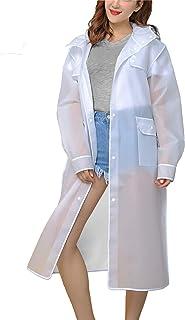 MAGCOMSEN Women's EVA Rain Coats Waterproof with Hood Long Rain Poncho Reusable Rainwear with Pockets