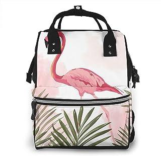 Risating Mummy Rugzak - Flamingo Tropische Palmblad Luier Tote Bag Grote Capaciteit Waterdichte Twill Canvas voor Mom Dad
