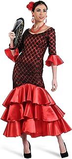 Elbenwald Damen Kleid Kostüm rot Karneval Spanierin Flamenco Tänzerin Schwarze Spitze Fasching Party Junggesellenabschied Ballkleid - L