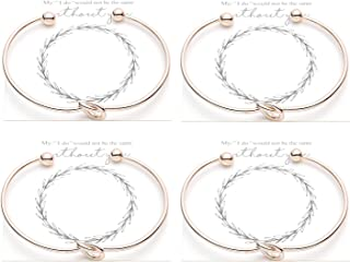 Bridesmaid Bracelets Bangle - Tie The Knot Bracelet Jewelry,Perfect Bridemaids Gifts with Cards -Gold,Rose Gold,Silver Color Available,Set of 1,4,6