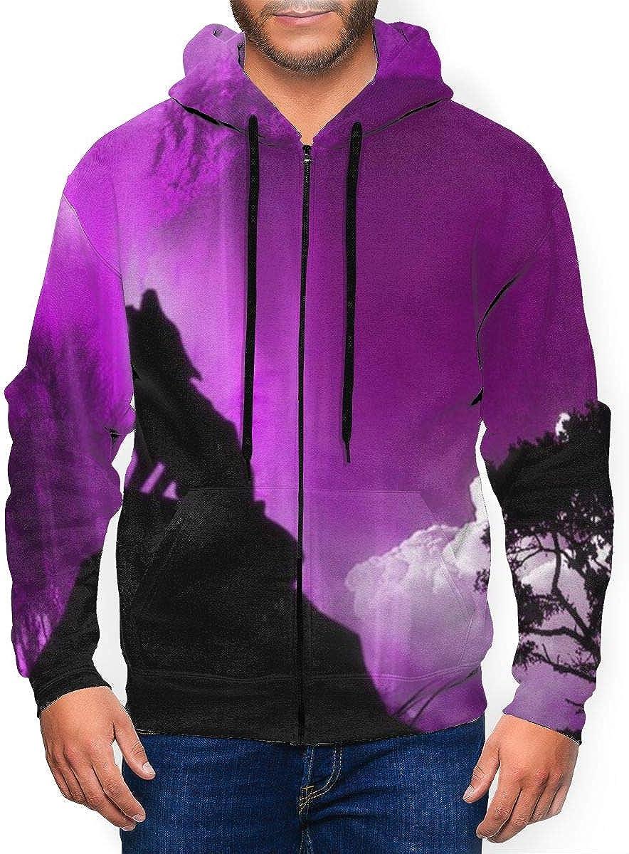 Wolf trend rank Print Men's Full-Zip Hoodie Outwe Jackets NEW before selling ☆ Sweatshirt Casual