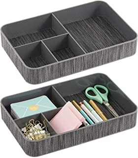 $22 » mDesign Plastic Divided Drawer Organizer Tray for Home Office, Desk Drawer, Shelf, Closet - Holds Highlighters, Pens, Scissors, Adhesive Tape, Paper Clips, Note Pads - 4 Sections, 2 Pack - Gray/Black