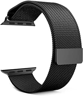 Jun-Yue Apple Watch Band 38mm/40mm Black Adjustable Stainless Steel Mesh Wrist Strap for iWatch Series 5 4 3 2 1