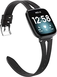 Glebo Black Leather Band Compatible with Fitbit Sense Bands/Versa 3 Bands, Dressy Soft Leather Versa 3 Watch Band Strap Wr...