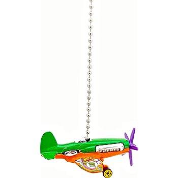 Biplane Aeroplane Airplane Ceiling Fan Light Pull Chain Ornament Airplane Orange Green Amazon Com