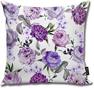 gatetop Funda de Almohada Elegante Girly Violeta Lila Flores púrpuras Decoración Fundas de Almohada Cojines para sofá y sofá 45x45 cm