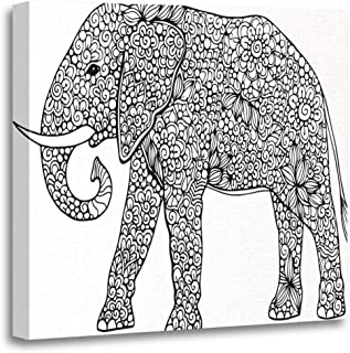 Semtomn Canvas Wall Art Print Animal Doodle Outline Elephant Decorated Abstract Zentangle Ornaments Drawing Artwork for Home Decor 20 x 20 Inches