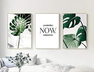 Nordic Ideas Set de 3 Posters Hojas Verdes y Citas y Cuadros