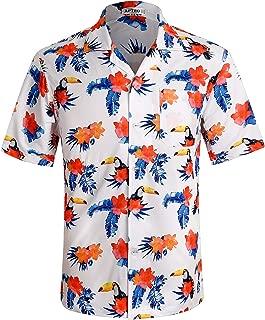 Men's Hawaiian Shirt Short Sleeve 4 Way Stretch Regular Fit Floral Tropical Shirts