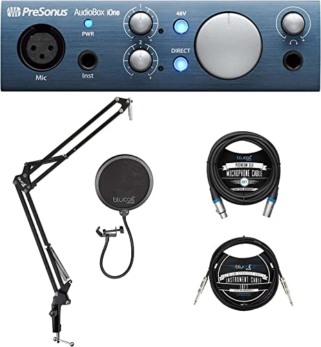 lowest PreSonus AudioBox iOne 2x2 online sale USB/iPad discount Audio Interface for Windows, Mac, and iOS Bundle with Blucoil Boom Arm Plus Pop Filter, 10-FT Balanced XLR Cable, and 10-FT Straight Instrument Cable (1/4in) outlet sale