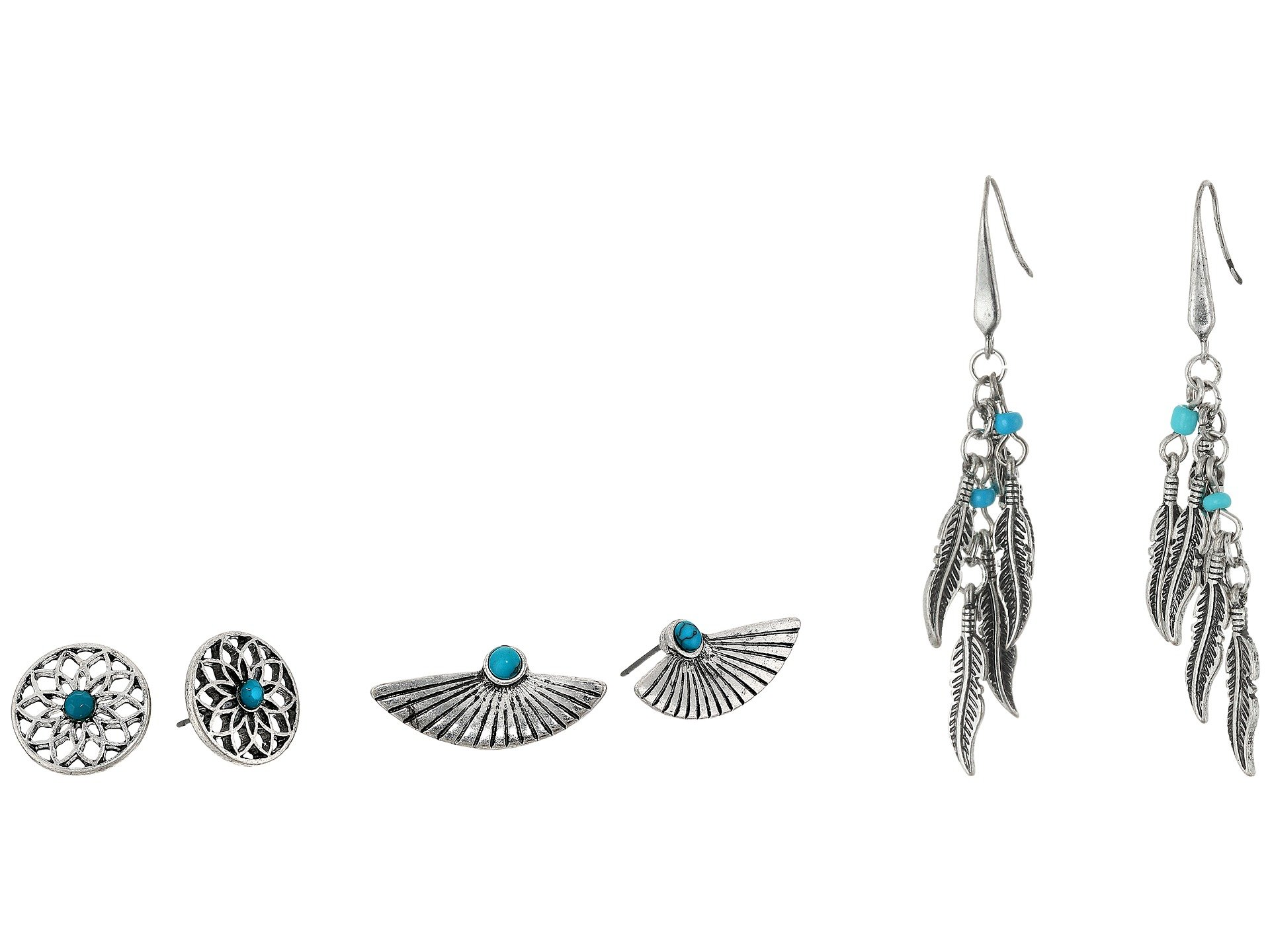Pendientes para Mujer Steve Madden Turquoise Wing Flower Post and French Wire Leaf Earrings Set  + Steve Madden en VeoyCompro.net