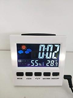 XYXZ Higrómetro Estación Meteorológica Termómetro Interior Alarma Reloj Digital LCD Calendario Relojes De Escritorio Medid...