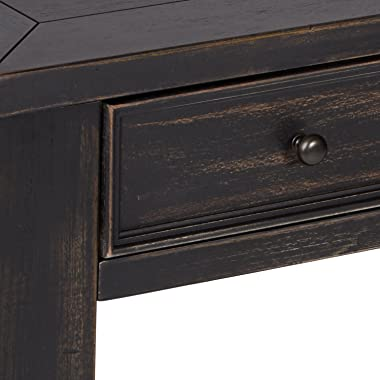 Signature Design by Ashley Gavelston Rustic Sofa Table with 4 Drawers and Lower Shelf, Black with Weathered Finish