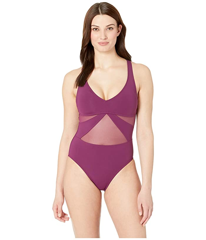 a797a45fce Bleu Rod Beattie Don't Mesh With Me V-Neck Mesh Mio w/ Strappy Cross-Back  (Cherry Wine) Women's Swimsuits One Piece
