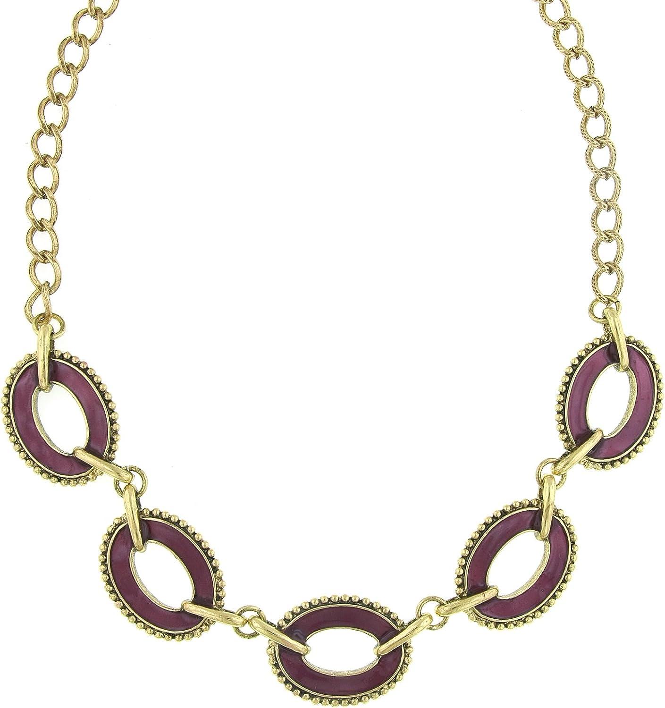 1928 Jewelry Brass Amethyst Enamel Oval Station Reversible Collar Necklace 16