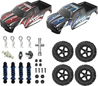 DEERC 1:18 RC Truck 2 Car Shells Body Covers 4 Tires Wheels 4 Screws 4 Screw Rings 4 Shock Absorbers Spare Parts Accessories for 9300 High Speed Remote Control Truck