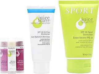 Juice Beauty SPF Set - SPF 30 Oil-free Moisturizer, Sport Sunscreen, SPF 8 Lip Moisturizers, Mineral, Broad Spectrum UVA UVB, Organic, Vegan, Reef Safe, Non-Toxic, No Chemical, Cruelty Free