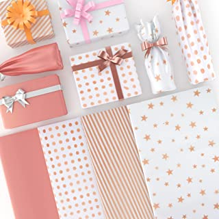 Larcenciel Papier de Soie, 120 Feuilles de Papier de Soie Métallique Or Rose pour Emballage de Cadeaux de Mariage, Anniver...