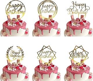 Lot de 6 Happy Birthday Cake Topper, Or Décorations de Gâteau d'anniversaire pour Enfants et Adultes, Acrylique Cupcake To...