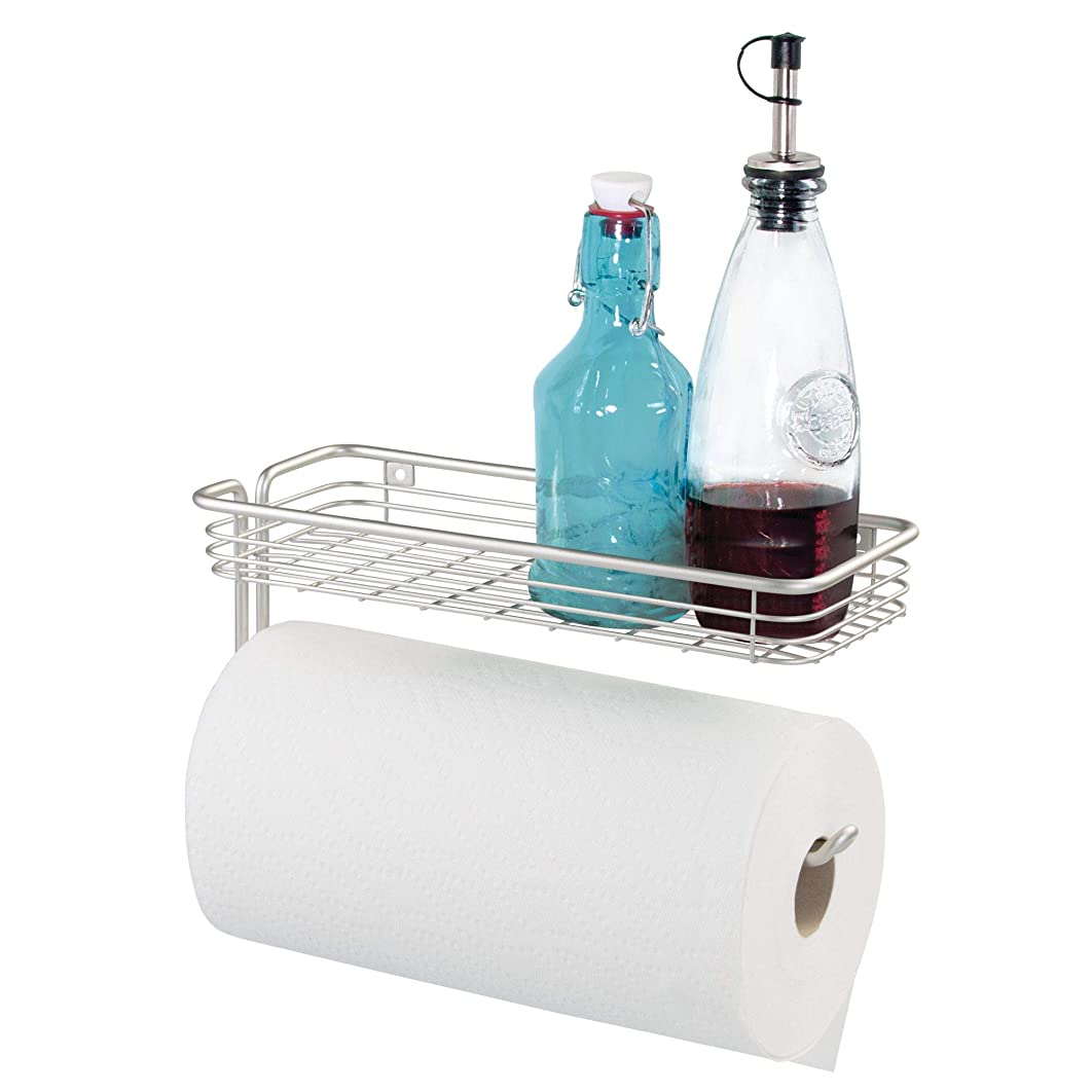 iDesign Classico Steel Wall Mounted Holder with Shelf Paper Towel Dispenser for Kitchen, Bathroom, Laundry Room, Garage, Office, Satin