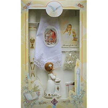 Girls First Communion White Candle Set Gift Box Rosary Keepsake Statue Missal Book