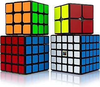 Findbetter スピードキューブ セット 競技用 2x2 3x3x3 4x4x4 5x5x5 四個セット ギフト包装済み 黒素体 世界基準六色 こども 脳トレ 知育玩具 国際キューブ協会段落試験専用キューブ (MF2345階四点セット 黒...