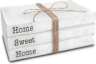 كتب زينة بلون ابيض من تن اكس في اي ديزاينز، مجموعة من 3 كتب - كتب مرصوصة مكتوب عليها Home Sweet Home - ديكور بلمسة منزل ال...