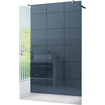 BuyLando 110x200 cm // 10 mm Paroi de douche verre de s/écurit/é en verre transparent salle de bain. LILY