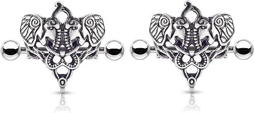 NEW /& SEALED Ganesh indian elephant indi  nipple bar barbell shield