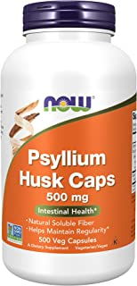 NOW Supplements, Psyllium Husk Caps 500 mg, Non-GMO Project Verified, Natural Soluble Fiber, Intestinal Health, 500 Veg Ca...