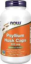 NOW Supplements, Psyllium Husk Caps 500 mg, Non-GMO Project Verified, Natural Soluble Fiber, Intestinal Health, 500 Veg Ca...