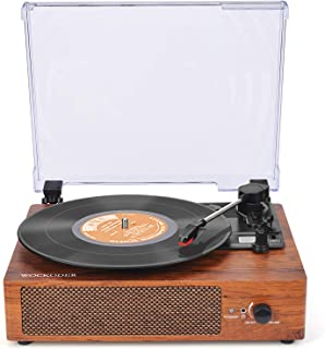 Record Player Turntable 3 Speed Vinyl Record Player with Stereo Speaker Phonograph Belt Driven Vintage Style Vinyl Record Player Portable Wireless Vintage Style