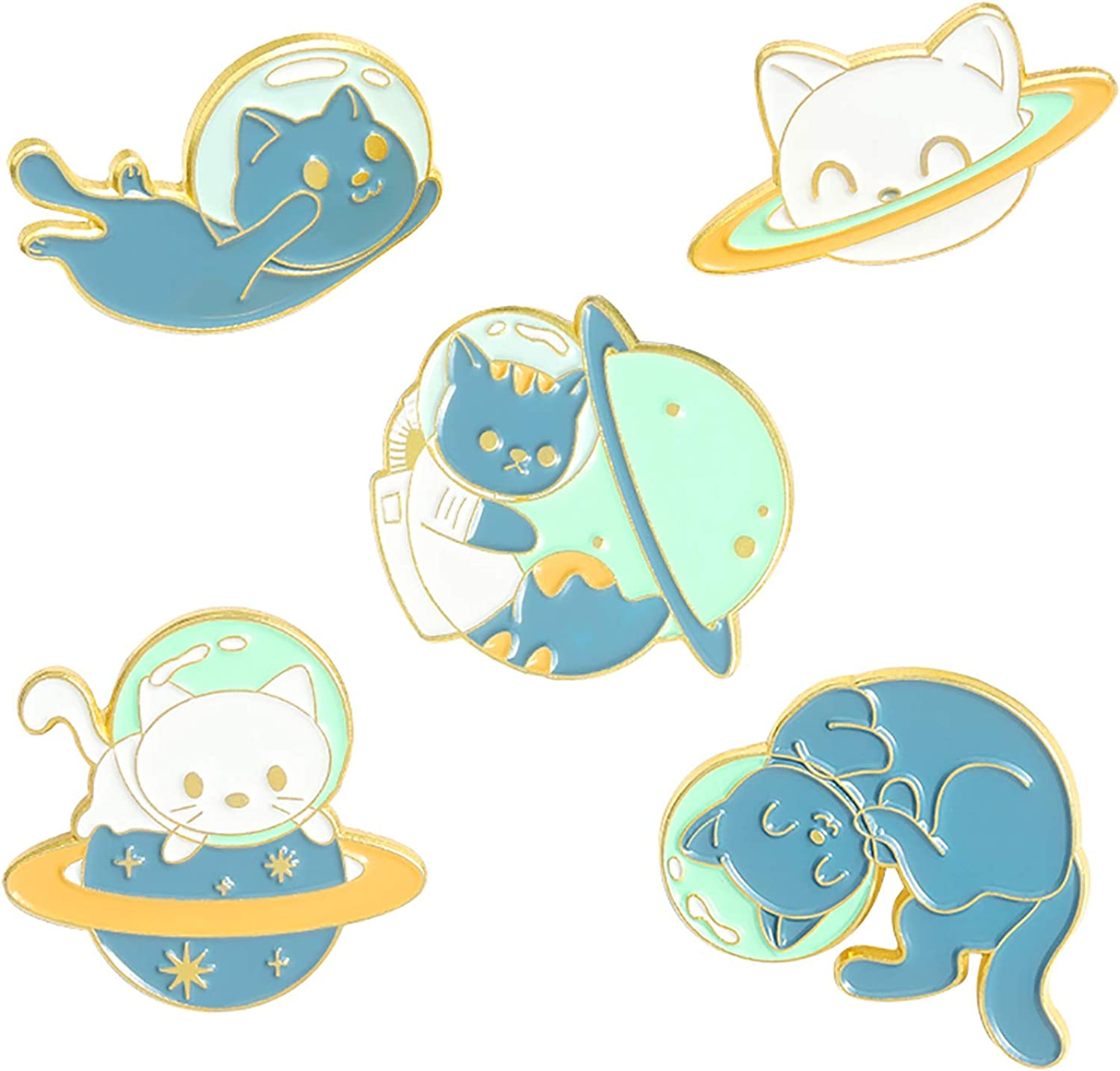 Space Cat Enamel Pins Set,Cute Animal Astronaut Lapel Pins for Women Girl Cartoon Planet Brooch Pin for Jackets Backpack Accessory