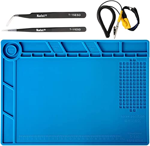 Kaisiking Silicone Soldering Mat Magnetic Soldering Mat Silicone Repair Mat with 2 ESD Tweezers and Anti-Static Wrist...