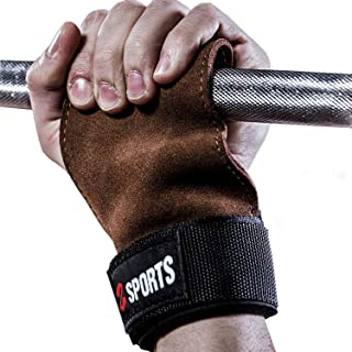 ALLYAOFA Fitness Cowhide Gloves, Weight Lifting Gloves, Cross Training Grips Adjustable Wristband Protect The Palm from Cr...