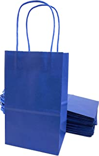 Kelkaa Party Kraft Paper Bags, 24pcs 5.25X3.5X8.5 Inches Gift Bags with Handles for Birthday, Wedding Party Favors, Bachelorette Party, Paper Tote Bags, Party Themes, Royal Blue (Small)