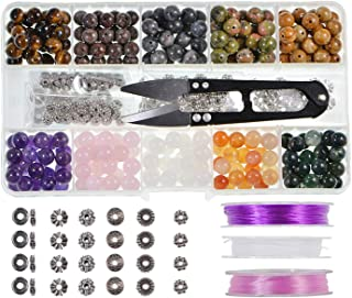 Stone Beads Box Set Kits 250pcs 8mm Round Loose Gemstone Natural Amethyst Rose Quartz Red Agate Larvikite Labradorite Assorted Color with Accessories Tools for Bracelet(100% Natural Stone Beads Kit 2)