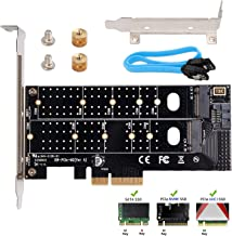 QNINE Dual M.2 PCIe Adapter, M.2 NVME SSD M Key or M.2 SATA SSD B Key 22110 2280 2260 2242 2230 to PCIe 3.0 x4 Host Controller Expansion Card with Low Profile Bracket for PC Desktop