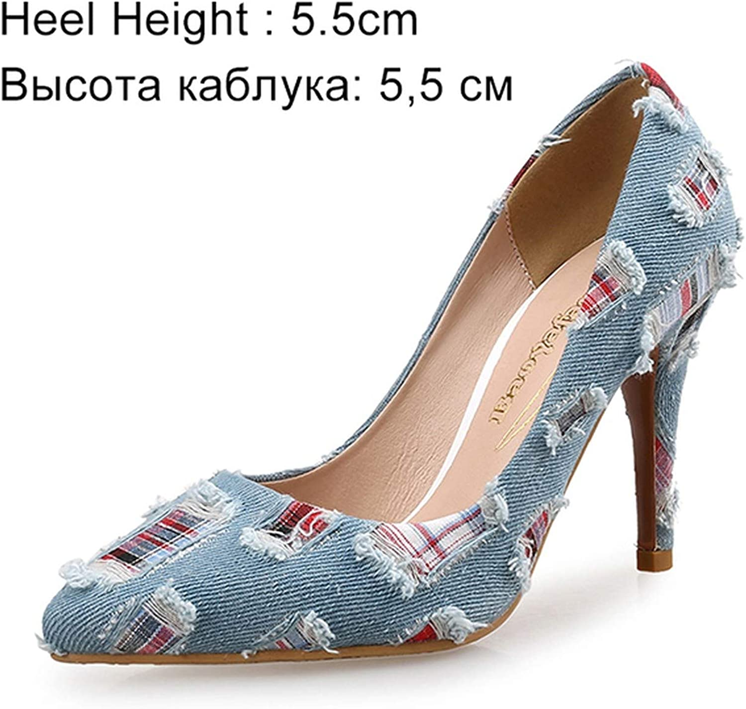 I Need-You Women Pumps High Heels shoes Female Casual Thin Heel Denim Ladies shoes Fashion Slip On Pointed Toe Party shoes Heels Plus Size