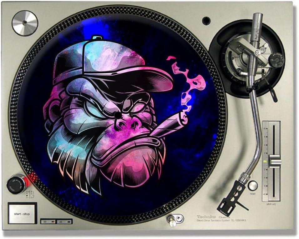 17,78 cm Alfombrillas deslizantes para tocadiscos Gorilla Smoking DJ