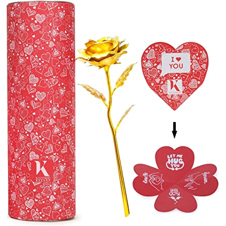 Kaameri Bazaar Valentines Day Friendship's Day Special 24K Gold Rose with Beautiful Gift Box (30x9x9cm) Gold Rose for Girlfriend/Boyfriend