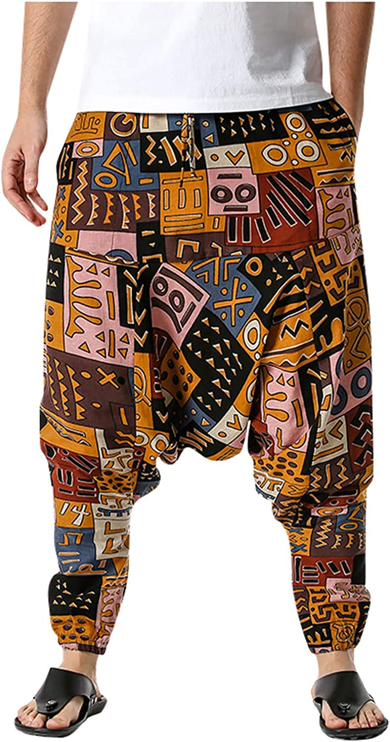 Men's Baggy Harem safety Pants Max 49% OFF Cotton Loose Summe Print Fit Boho Casual