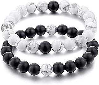 Couples His and Hers Couple Bracelet White Turquoise&Black Matte Agate Stones Distance Bracelet 2 PICS