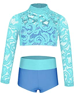 Big Girls Lace Dance 2 Pieces Outfit High Neck Crop Top with High Waisted Shorts for Gymnastics/Sports
