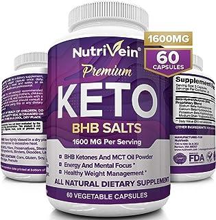 Nutrivein Keto Diet Pills 1600mg - Advanced Ketogenic Diet Supplement - BHB Salts Exogenous Ketones Capsules - Effective Ketosis Best Keto Diet, Mental Focus and Energy, 60 Capsules