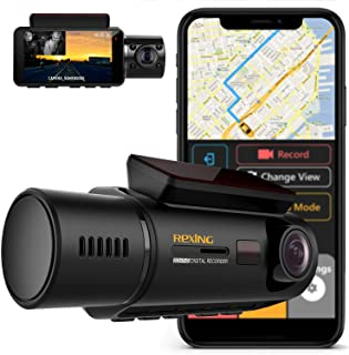 Rexing V3 Dual Camera Front and Inside Cabin Infrared Night Vision Full HD 1080p WiFi Car Taxi Dash Cam with Built-in GPS,...