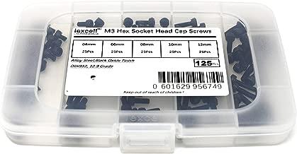 iExcell 125 Pcs M3 x 4mm/6mm/8mm/10mm/12mm 12.9 Grade Alloy Steel Hex Socket Head Cap Screws Kit, Black Oxide Finish