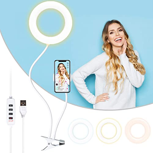 "6"" Reading Ring Light, RE (3 Color Light 10 Brightness) LED Ring Light with Clip and Phone Holder for Reading, Live S..."